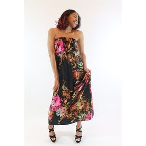Flower Exhiliration Maxi Dress With Earrings